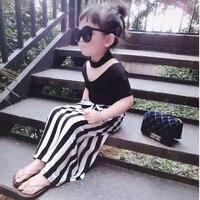 Girls Skirt Sets Halter T Shirt Striped Skirt Toddler Long Skirt Suit Little Girls Black T