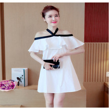2018 summer Dresses for Pregnant Women Off the Shoulder Hang neck Maternity Clothing With bow loose