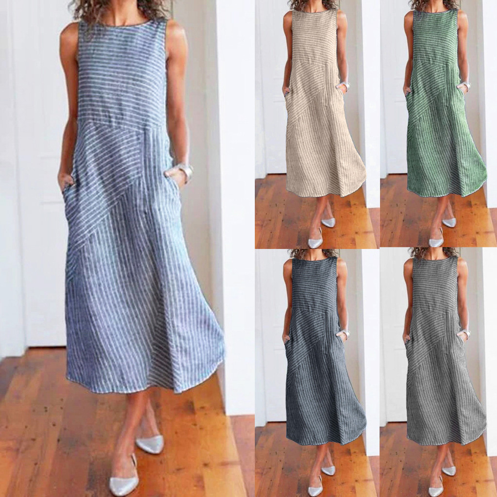 HTB1ZQLuXv1H3KVjSZFBq6zSMXXae - Women Summer Dress Casual Striped Sleeveless Maxi Dress Crew Neck Linen Pocket Party Long Dresses