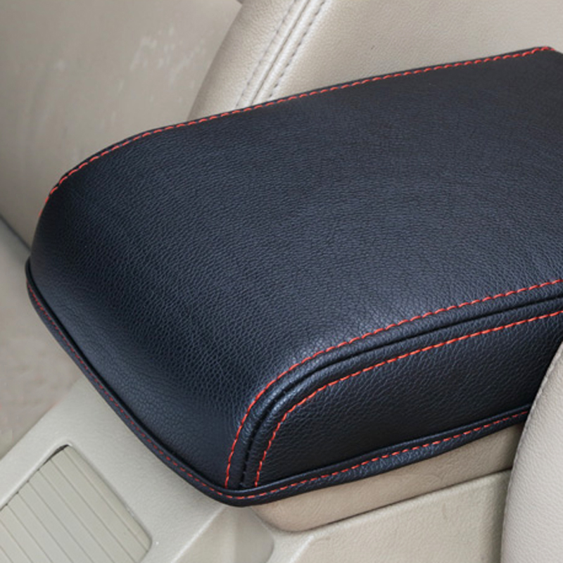 For Skoda Octavia A7 2015 2016 2017 2018 black leather car armrest box protect cover car central armrest box cover accessories carbon fiber car leather car central armrest console cover for honda civic 10th 2016 2017 2018 accessories