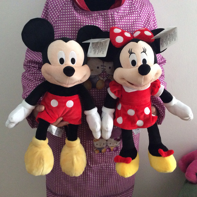 1pair 45cm 17.7 Original Mickey Mouse Clubhouse Plush Stuffed Toys Mickey and Minnie soft doll for Children Birthday Gifts