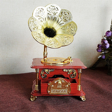 Old Gramophone Model Music Box Golden Moments with Music Clockwork Rotary Phonograph Nostalgia Crafts Creative Christmas