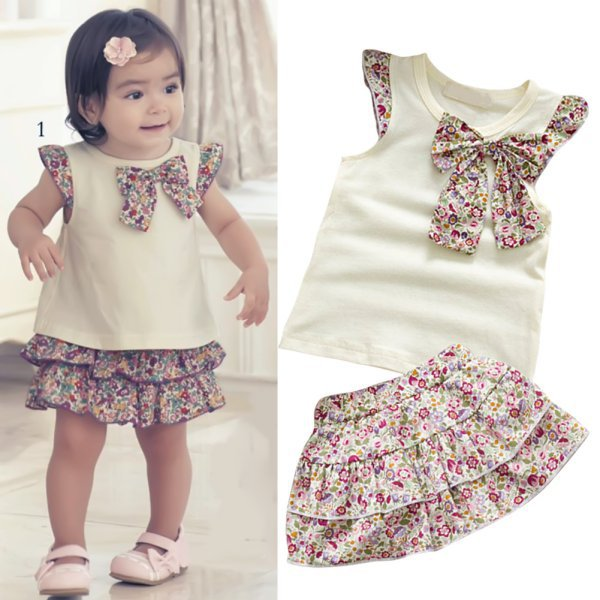 2016 Hot Sale  Baby Kids Girls Flowers Bow-Knot Tops+Ruffle Culottes 2PCS Set Outfits Clothes 0-3Y hot princess kids girls outfits clothes baby bow stripe dress shirts tank tops pants shorts