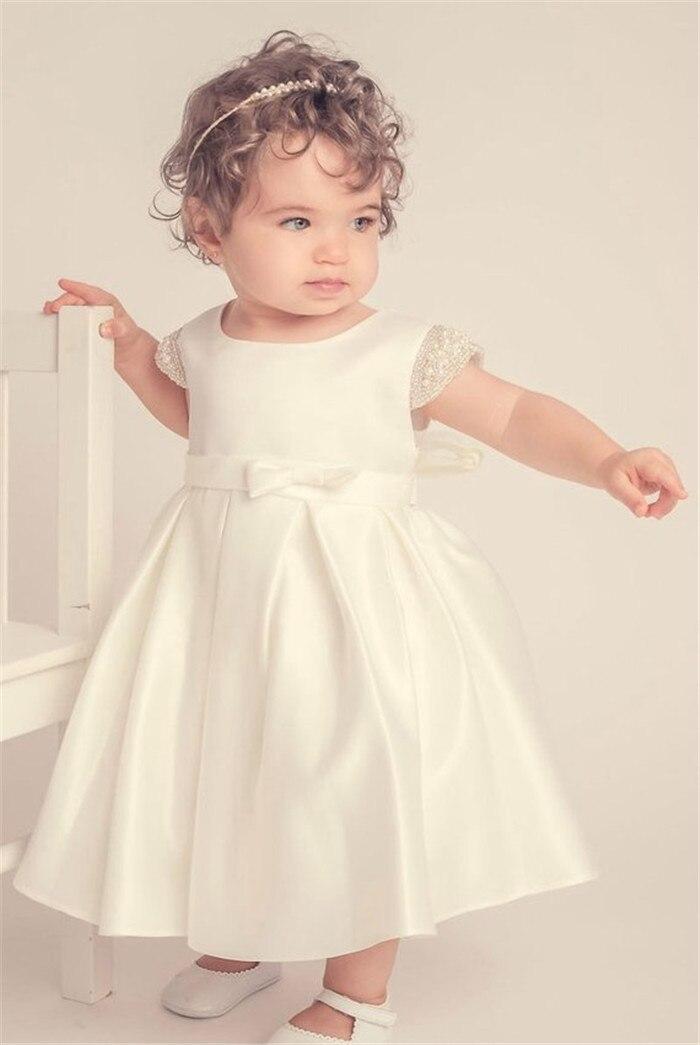 Ivory Pink Baby Girls Christening Dress Baptism Gown Satin Pearls Little Girls Birthday Dress Communion Gown satin slip sleep dress
