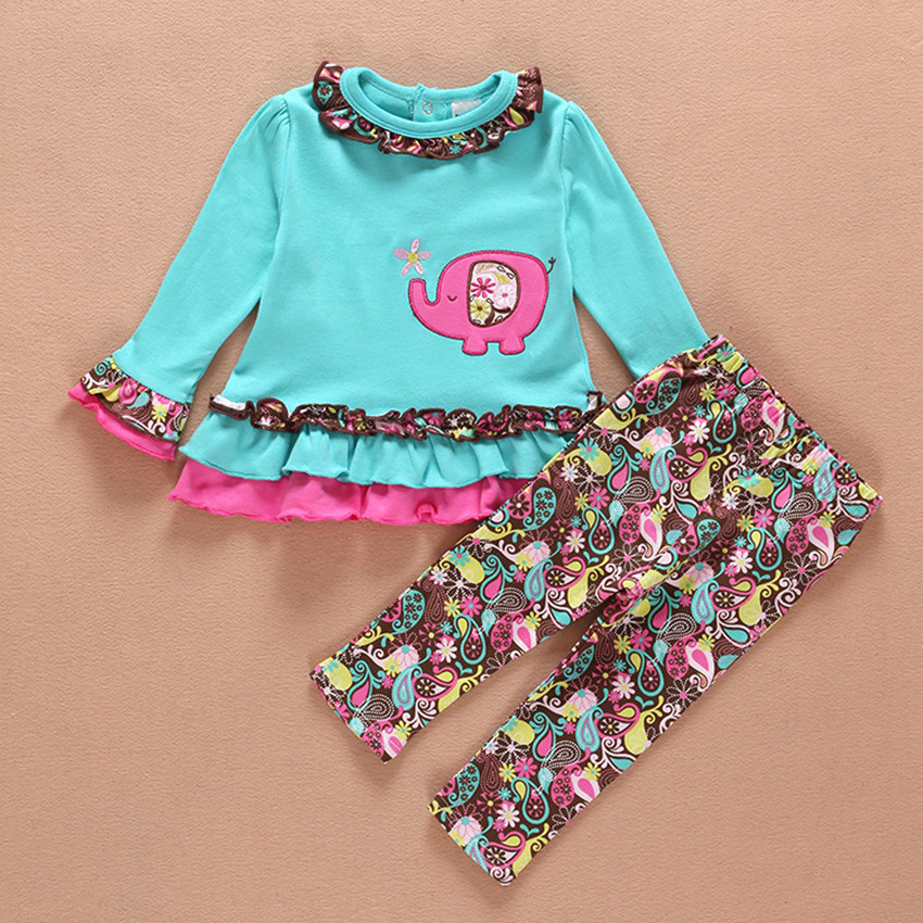 baby girl Elephant clothes set newborn toddler cotton suit kids girl outfits spring tracksuit infant clothing set 0-2T 3pcs set newborn infant baby boy girl clothes 2017 summer short sleeve leopard floral romper bodysuit headband shoes outfits