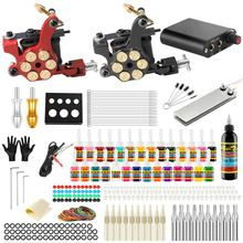 Stigma 2018 Tattoo Machine Set Liner Shader Clip Cord 2 Guns New Arrival Kit Practice Skin 28 Color Ink Pigment TK204 18