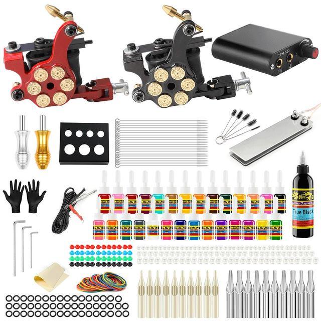 Stigma 2018 Tattoo Maschine Set Liner Shader Clip Schnur 2 Guns Neue Ankunft Kit Praxis Haut 28 Farbe Tinte Pigment TK204 18