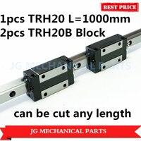 Hohe Präzision 20mm linearführungsschiene 1 stücke TRH20 L = 1000mm mit 2 stücke TRH20B Quadratischen block wagen für CNC Router Fräsen Maschine-in Linearführungen aus Heimwerkerbedarf bei