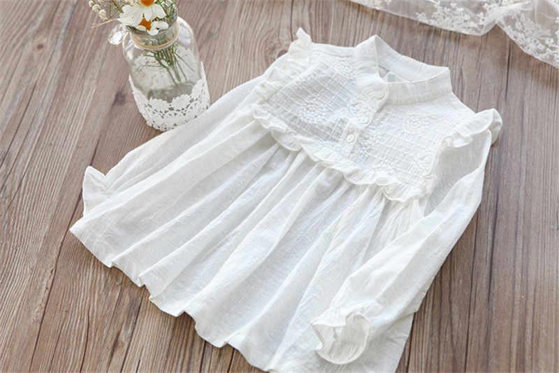 綿 2019 白の女の子ブラウス固体シャツ長袖キッズベビーシャツ服春の秋の子供服