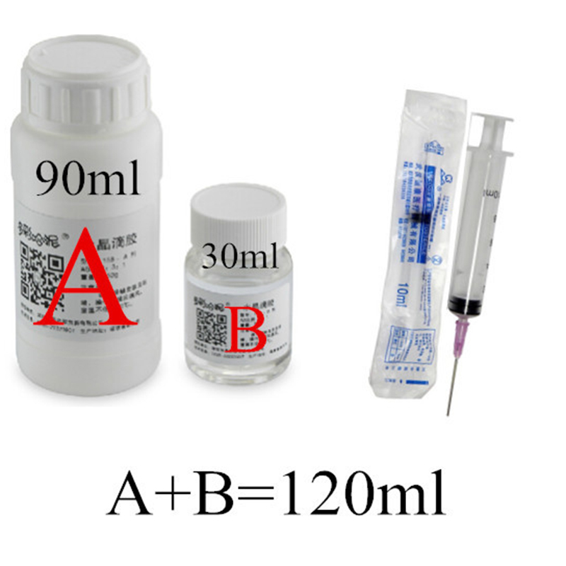 Simple operation 120ml AB two component epoxy doming transparent crystal resin glue and curing agent measuring