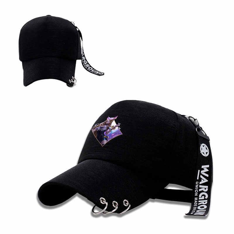 LOL KDA Akali Кепка модная солнцезащитная Кепка унисекс регулируемая бейсболка железные кольца черные кепки для занятий спортом на открытом воздухе Snapback шапки косплей подарок