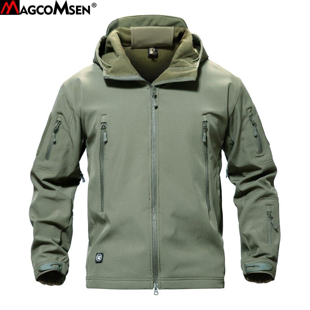 Chaqueta militar de piel de tiburón MAGCOMSEN hombres Softshell Waterpoof Camo ropa táctica camuflaje ejército Hoody Chaqueta Hombre abrigo de invierno