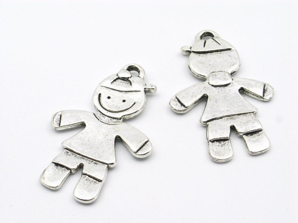 necklace small pendent cute boy son Flat Antique Silver Zamak d-3-46