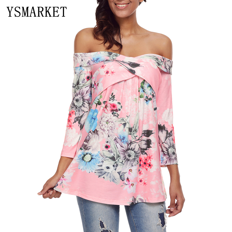 6a3dd944dd7ce floral print off shoulder crisscross blouse women long sleeve blouse shirt  sexy loose pink E250259-in Blouses   Shirts from Women s Clothing on ...