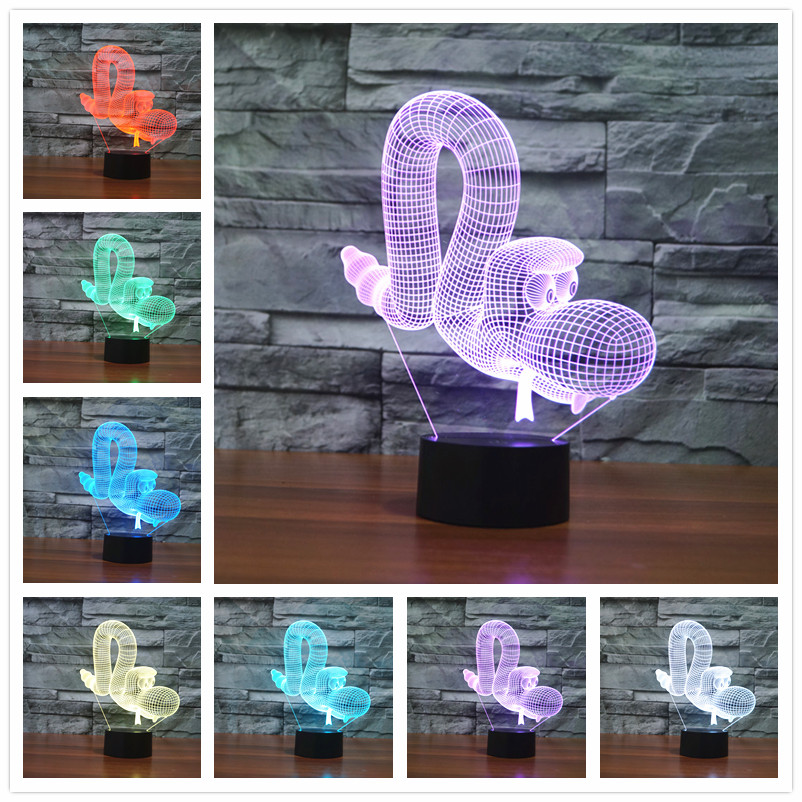 2016 Lamparas 3D Led Desk lamp Mood Lamp for Holiday 3D Bulbing Light USB Skull Lamp Ironman Color Changing As Gift image