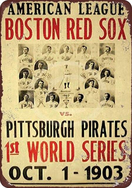 ZJY Vintage Home Decor Boston Red Sox Metal Tin Signs Tavern Shabby ...