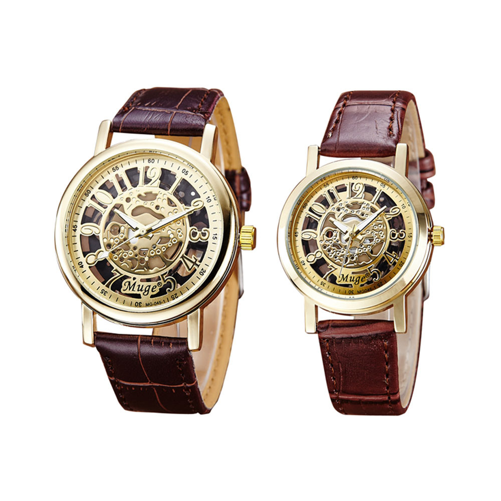 Creative 2PC Men s Women s Watches And Leather Band Classic Wrist Hollow Skeleton Couple Quartz