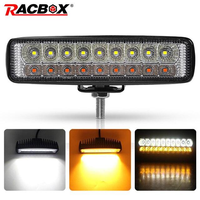 כפול צבע 6 18W Slim LED אור בר לבן אמבר 12V 24V פנסי קרן עבודת אור עבור UAZ 4x4 רכב Moto טרקטורונים UTV DRL offroad