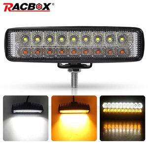 Image 1 - Double Color 6 18W Slim LED Light Bar White Amber 12V 24V headlights Beam Work Light for UAZ 4x4 Car Moto ATV UTV DRL offroad