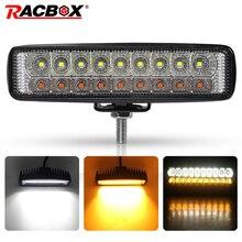 Dubbele Kleur 6 18W Slanke Led Light Bar Wit Amber 12V 24V Koplampen Beam Werk Licht Voor uaz 4X4 Auto Moto Atv Utv Drl Offroad
