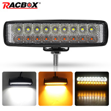 Çift renk 6 18W İnce LED ışık çubuğu beyaz Amber 12V 24V far ışın çalışma ışığı UAZ 4x4 araba Moto ATV UTV DRL offroad
