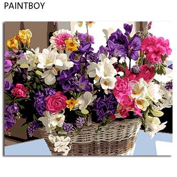 صور مؤطرة paintboy diy الطلاء بواسطة أرقام زهرة اليدوى النفط الطلاء على قماش ديكور المنزل غرفة المعيشة جدار