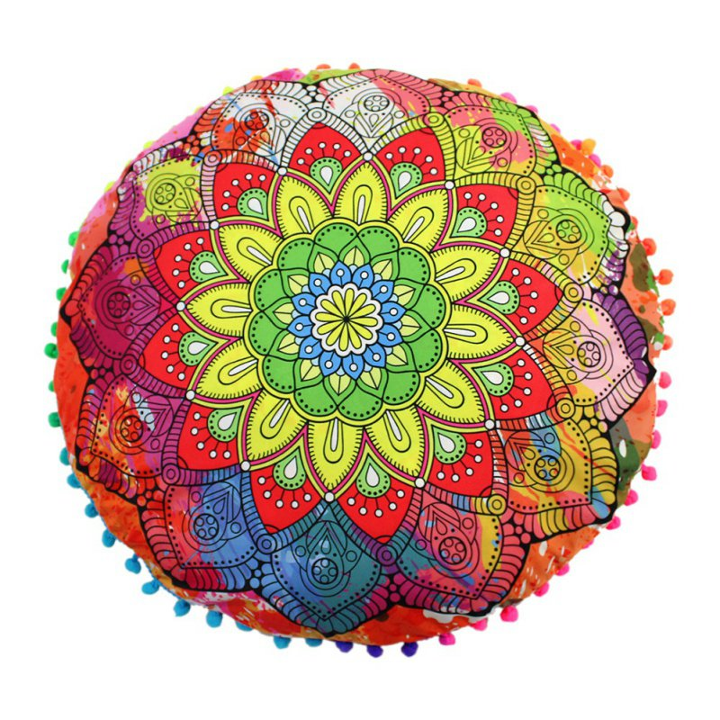 2018 New Round Indian Mandala Floor Pillows Bohemian Cushions Pillows Cover Case