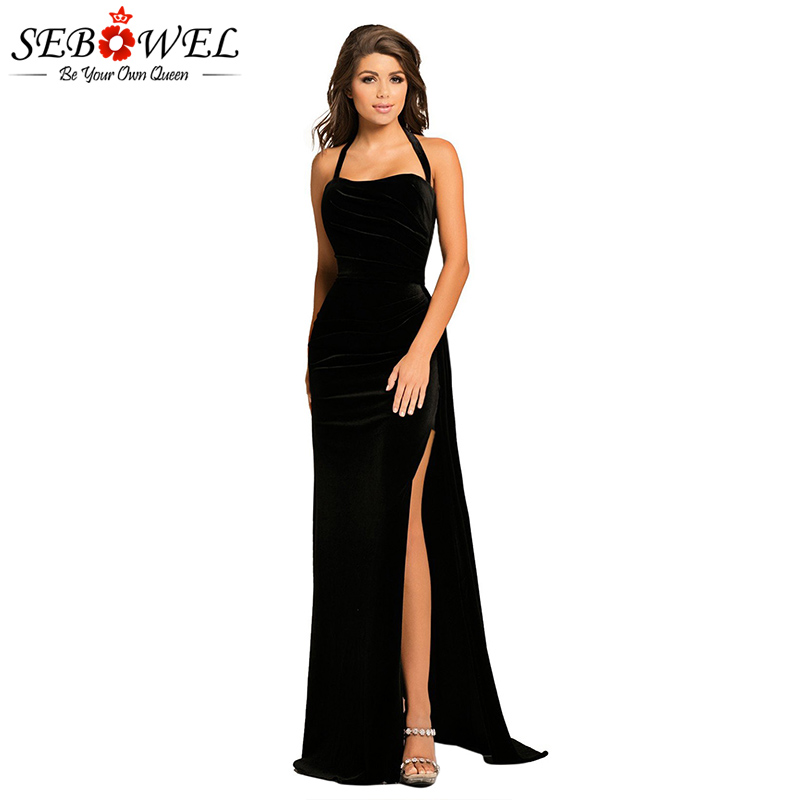 Black-Thigh-High-Split-Velvet-Evening-Gown-LC610993-2-1