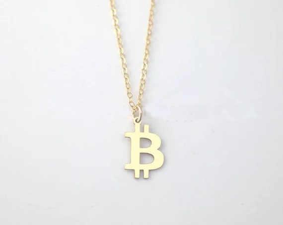 Osobowość Bitcoin naszyjnik proste miedzi Link Chain złoty kolor naszyjniki biżuteria najlepszy prezent dla mężczyzn i kobiet YP4004