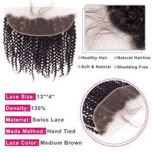 """Image 3 - Bling Hair 100% Remy Brazilian Kinky Curly Human Hair Lace Frontal Closure 13*4 With Baby Hair Nature Color 8"""" 22"""" Free Shipping"""