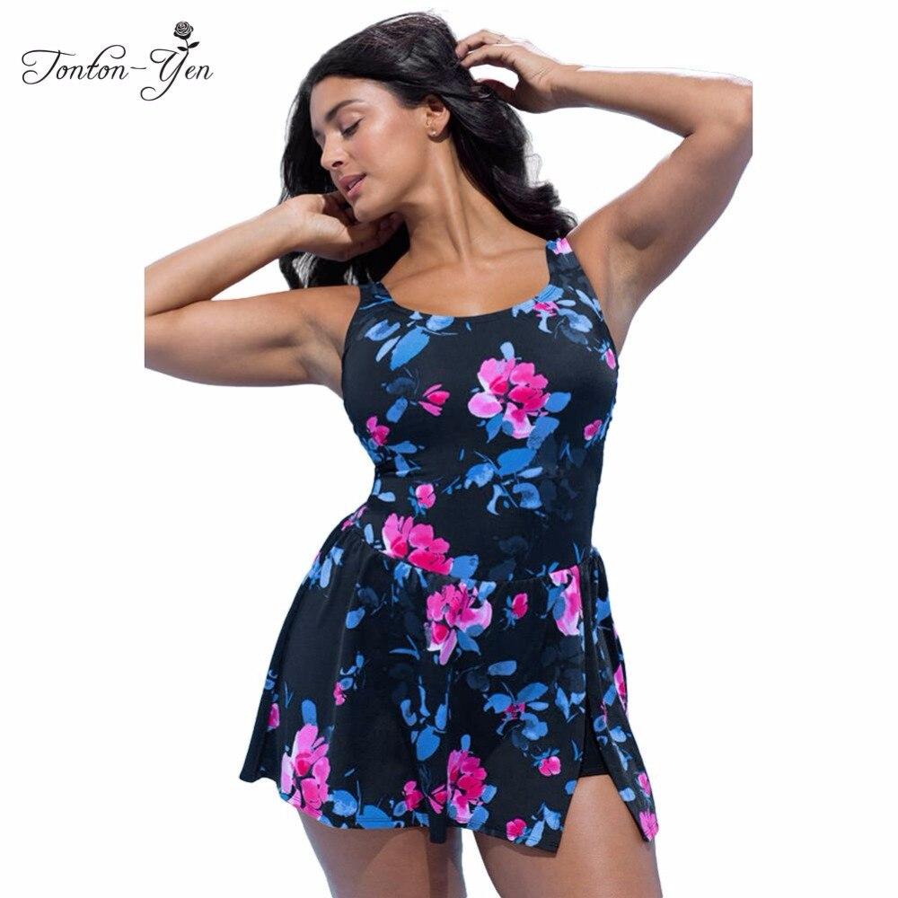 nuovo di zecca 6fc27 bea65 US $19.98 |2017 New Plus Size Swimwear Delle Donne Costume Intero con Gonna  Large Size Vintage Retro Grasso MM Costume Da Bagno Swim Dress XL 4XL in ...