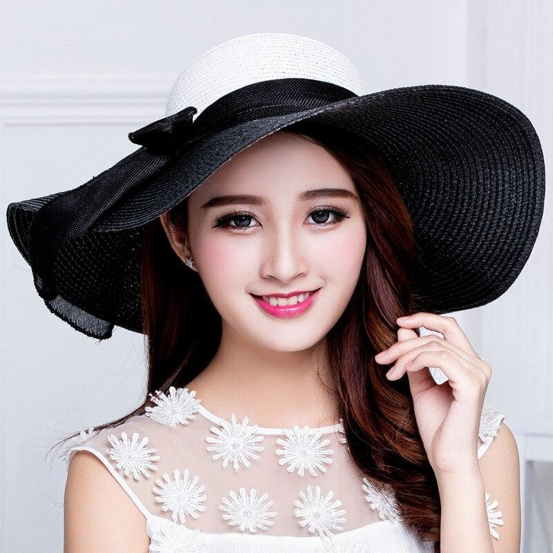 Sunshade Hat Hepburn Fragrance Celebrity Black Ribbon Female Cap Bowknot Travel Sunscreen Beach Hats Wide Eaves Straw Caps H009