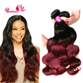 2016 Two Tone Brazilian Weave Hair 3ps Ombre Brazilian Hair Brazilian Body Wave Burgundy Brazilian Hair Burgundy Hair Extensions