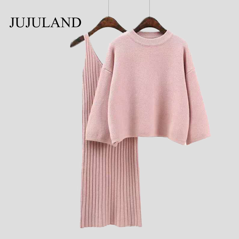2018 Two Piece Set Knitted Dress Winter Sweater Suit for Women Set Three Quarter Pullover Wool Sweater Elastic Cashmere Suit 1