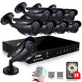 ZOSI 8CH 720P Waterproof CCTV System Video Recorder 8PCS 1.0MP Home Security Camera Surveillance Kits With 2TB HDD