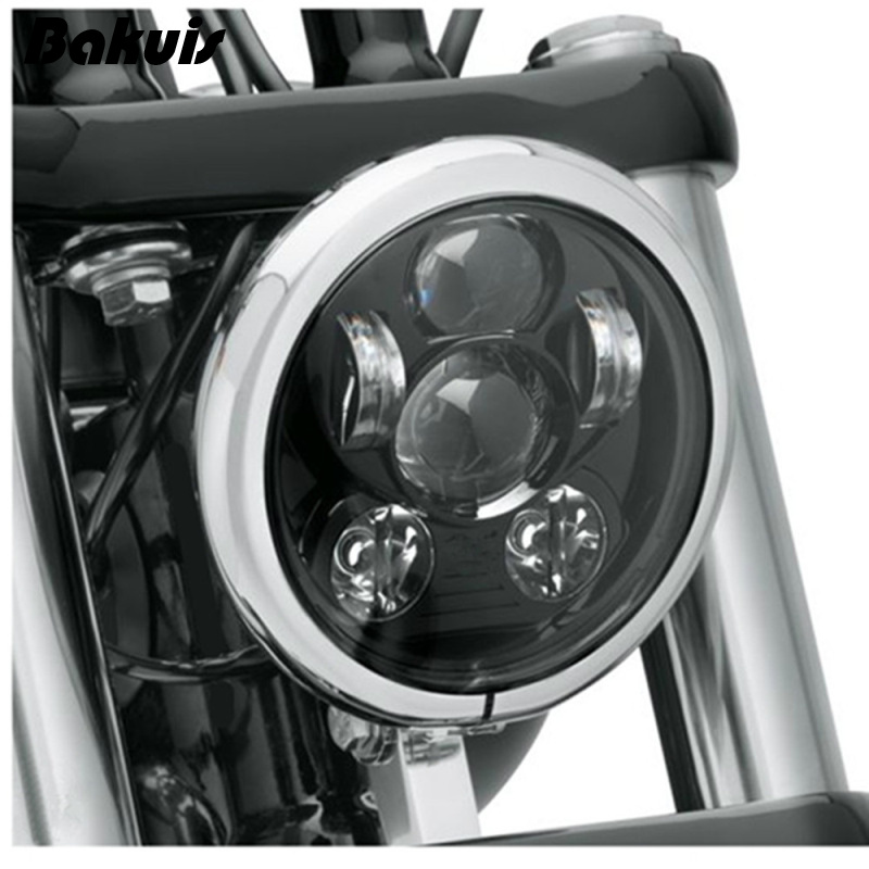 """Bakuis 5.75"""" 5-3/4"""" Motorcycle Projector 45W LED Lamp Headlight For Harley Sportster 883 1200,  Iron 883,  Dyna, Street Bob FXDB"""