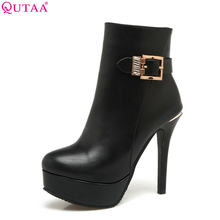 8aee9ad21f27f QUTAA 2018 Sexy Thin High Heel Fashion Pu Leather Round Toe Platform  Western Style Red Ladies Motorcycle Boots Size 34-43