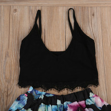 Family Match Clothes Summer Sleeveless Woman Crop Tops+Floral Skirt Kids Girls Dresses Sundress