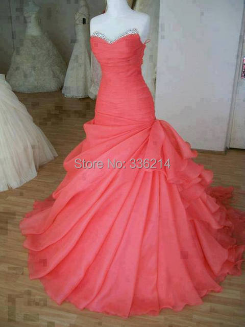 2014 elegante sandía Vestido rojo De la boda Vestido De bola ...