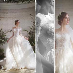Image 2 - Vestido de noiva manga comprida, novidade de 2020, de casamento, de tecido tule e renda, vintage