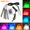 4Pcs Set Car Interior Decorative RGB LED Strip Light Atmosphere Lamp Kit Foot Lamp With 24