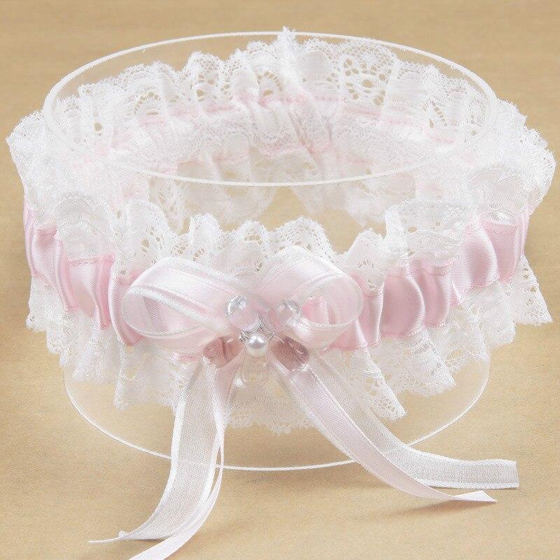 Pink Bowknot Pearl Flower Lace Ribbon Dream Princess Bride's Garter Wedding Supplies Elastic  Garter Leg Ring