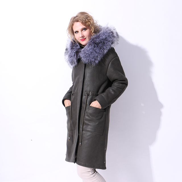 Factory direct supply 2017new faux fur coat women winter suede Drop- shoulder trench faux leather long coat Hood express ukraine