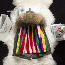 High quality! Girls Natrual Rabbit Fur Parkas Winter Coats for girl Toddle Hoodies Raccoons fur Collar Children Detachab Clothes