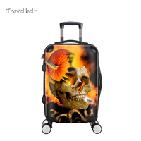 Travel Belt Creative 3D Skull Rolling Luggage Spinner 28 inch Suitcase Wheels 20 inch Black Cabin Trolley Travel Bag