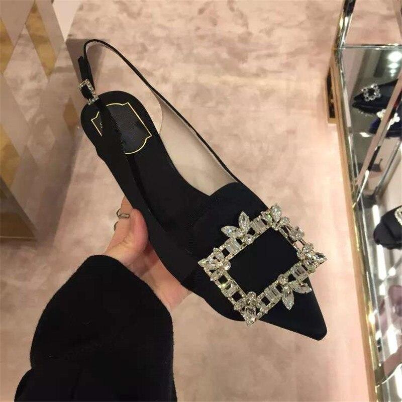 Kmeioo 2019 offre spéciale mode été chaussures femme bout pointu Med talons bijou sandales Slingback pompes cristal talons chaussures de mariage - 4