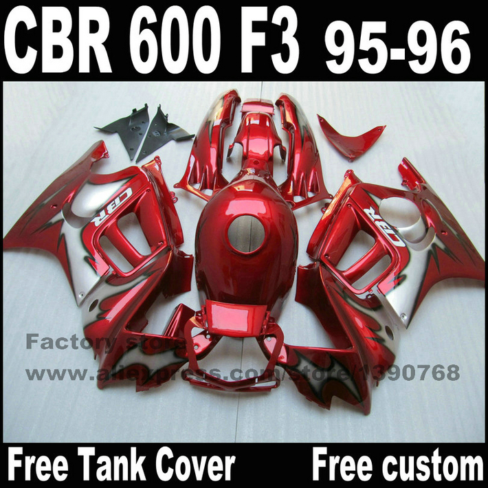 Full fairing parts&Tank cover kit for HONDA CBR 600 F3 fairings 1995 1996 motobike  95 96 black red  set CN30 trt
