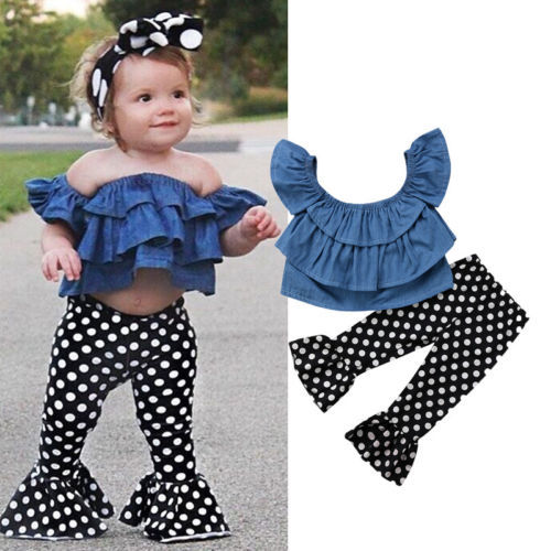 26a238f123cd 2018 New 2pcs Newborn Kids Baby Girls Blue Jeans Off Shoulder Tops Polka Dot  Flare Pants Children Summer Clothes Outfits Set
