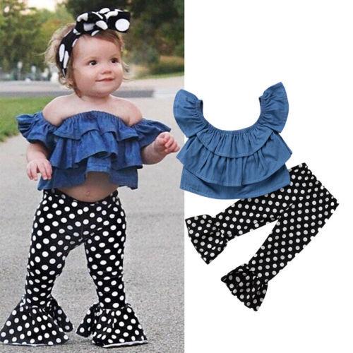 28c62f9c4 2018 New 2pcs Newborn Kids Baby Girls Blue Jeans Off Shoulder Tops ...