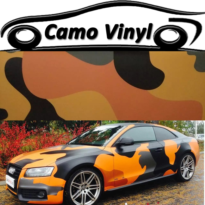 Hot Orange Black Snow Urban Camouflage Vinyl Wrapping Camo Car - Camo custom vinyl decals for trucks